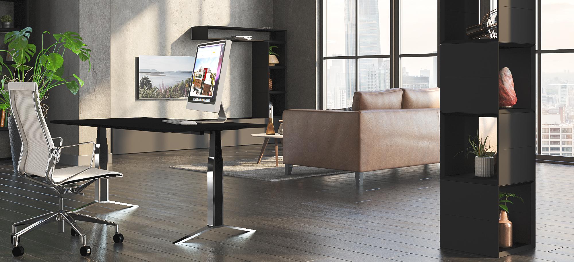 Steh-Sitz Schreibtisch Masterlift 5 Füße und Hubsäulen verchromt