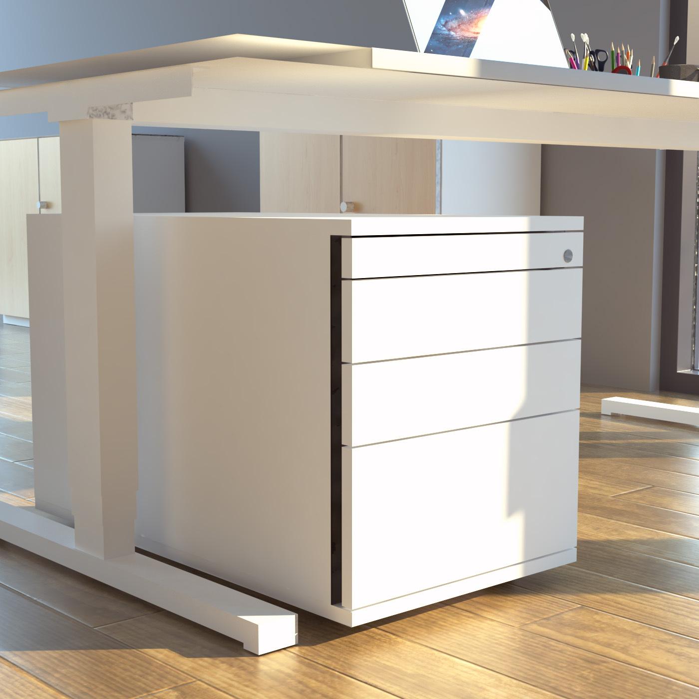 Abbildung eines Bürocontainers als Ordnungssystem unterhalb eines Schreibtisches
