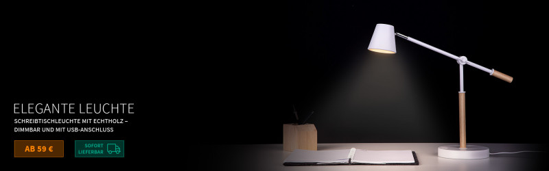 Schreibtischleuchte mit Echtholz